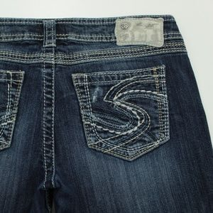 Silver Brand Twisted Capri Womens Distressed Jeans